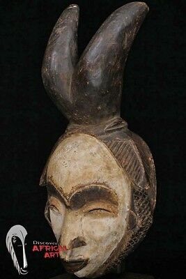"Hand Carved Punu Lumbo Mask w/ Horns 17.5"" on Custom Mount - Gabon - African Art"