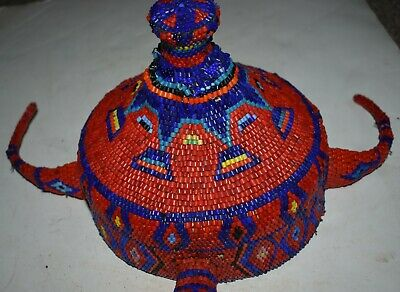 orig $299 PENDE BEADED HAT  EARLY 1900S 10in PROV
