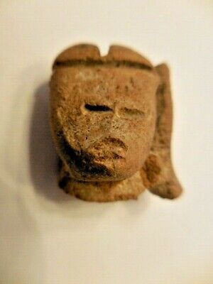 Antique Pre-Columbian Carved Stone Head Face Mask #5
