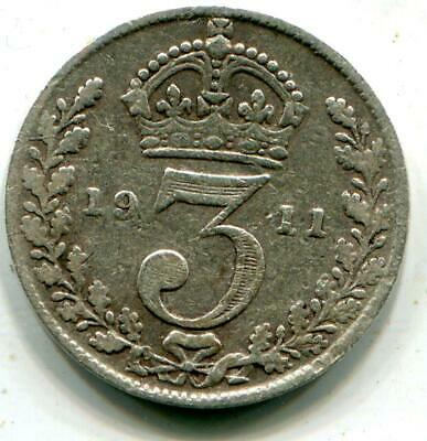 1911 Solid Sterling Silver Vintage Retro Threepence King George V Britain UK