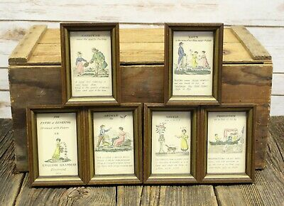 Set Of 6 Antique 1826 Path Of Learning Grammar Illustrated Book Prints Framed
