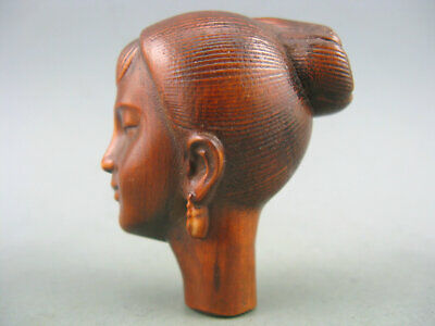 Antique Old Chinese Boxwood Hand Carved Girl Netsuke Statue
