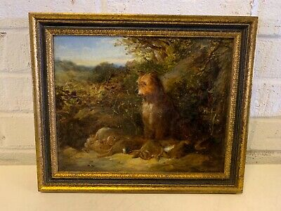 Antique Hunting Terrier with Rabbits Framed oil Painting by David Hardy