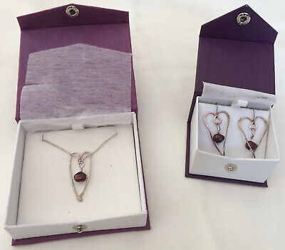 """6c461adcd Philip James 16"""" Silver Necklace with Pendant & Heart Shaped Drop Earrings"""
