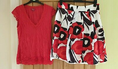 Ladies Monsoon Size 12 matching skirt and top - red, black, white wedding outfit