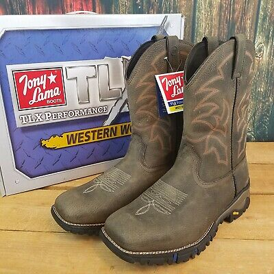 b18abd46215 TONY LAMA MENS TLX TW5000 Roustabout Western Gray Work Boots Size 13 ...