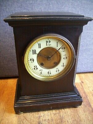 Antique 1920's Mauthe Ebonised Wood Mantel Clock with Chime (Brass Features)