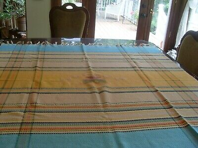 Vintage Woven Mexican, Aztec,  Brightly  Colored Tablecloth W/Fringes