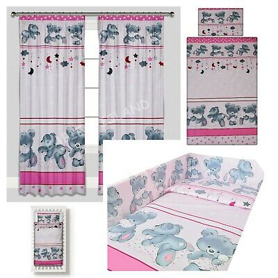 Pink Teddy Bears Girl  Baby Bedding Duvet Covers/Curtains Cot/Cot bed/Toddler