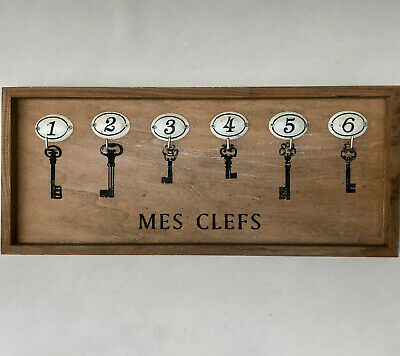Vintage French Rectangular Wooden Key Rack Numbered 1 - 6  With 6 Hooks