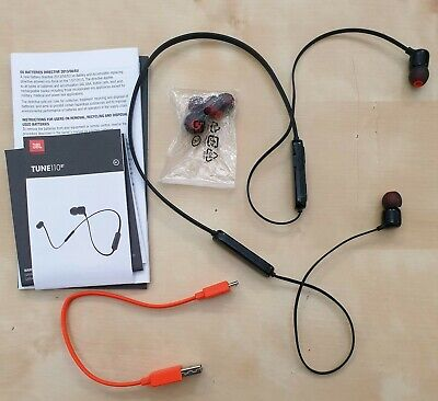 JBL By Harman Tune110BT Bluetooth Wireless Tangle Free In-Ear Headphones - Black