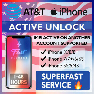 At&T Factory Unlock Service For Active On Account Iphone X 8 8+ 7 7+ 6S 6 5S 4S