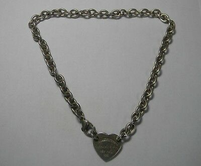 9b26f1fa0 Please Return to Tiffany & Co Center Heart Tag Sterling Silver Choker  Necklace