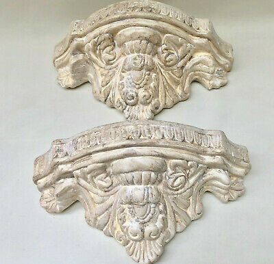 Vintage French Pair Of Matching Cream Ornate Plaster Wall Shelf Corbel Brackets
