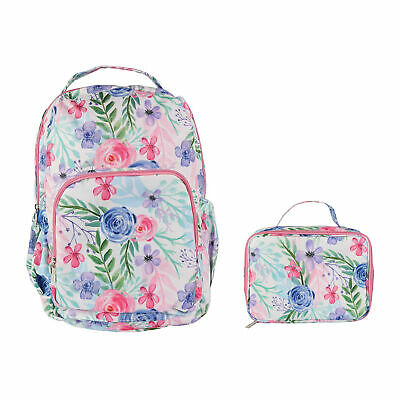 Flower Fields Soft Pink 18 x 10 Polyester Canvas Backpack and Lunchbox Set