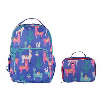 Lucky Llama Cobalt Blue 18 x 10 Polyester Canvas Backpack and Lunchbox Set