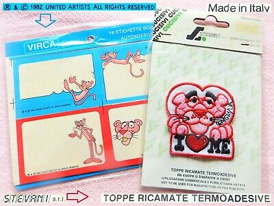 💕 PINK PANTHER Pantera Rosa Vintage TOPPA Patch '90 + ADESIVI Label stickers 82