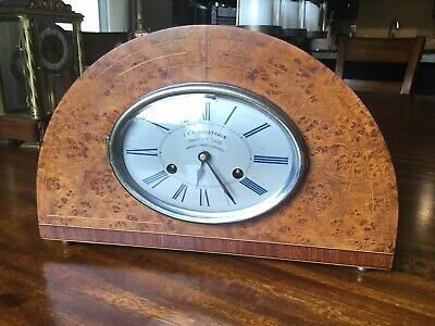 French Art Deco Coin Op Mantel Clock La Pendastrava Burl Inlayed Case