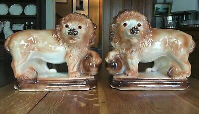 A Very Fine Pair of 1880's Staffordshire English Standing Lions. (Excellent)