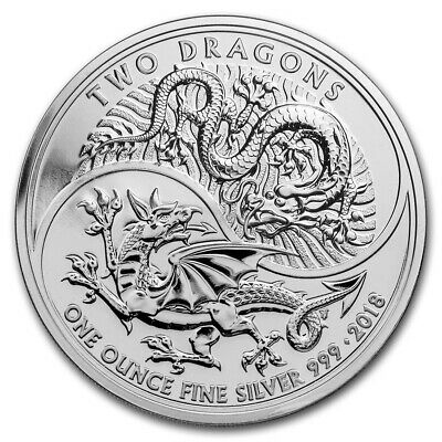 2018 Great Britain 1 oz .999 2 Pounds Silver England Two Dragons Coin BU Capsule