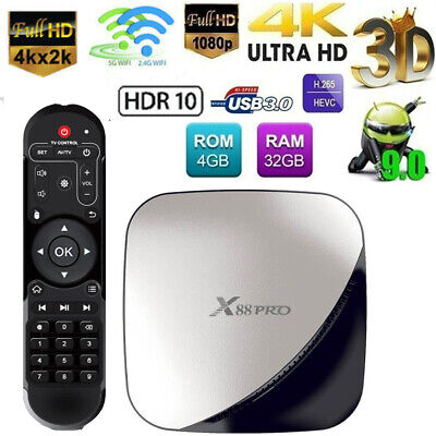 X88 PRO 4G+32G TV BOX RK3318 Quad Core Android9.0 TV Box WiFi Media Player H0E0