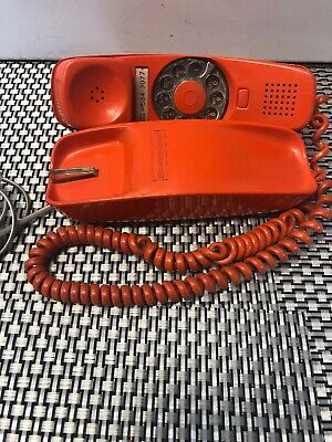 Vintage Orange Stromberg Carlson Slenderet Rotary Telephone Tested And Working