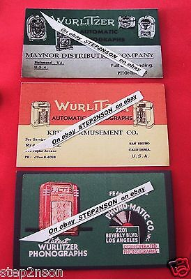 3 Early Wurlitzer Jukebox Machine operator Mechanism Back Door cards 1930  40`s