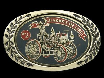 SB13110 VINTAGE 1970s **CHARIOTS OF FIRE** FIRE FIGHTER SOLID BRASS BELT BUCKLE