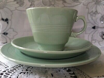 Vintage Woods Ware Beryl Green Trio (Cup, Saucer & Side Plate) - Ex.Condition