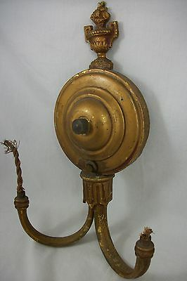 Antique 1920's Brass Art Deco Sconce Polychrome Wall Vintage Light Fixture Old