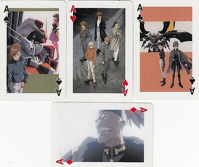 ACE of SPADES and SUIT ACES - GUNDAM WINO 4 single vintage playing cards !