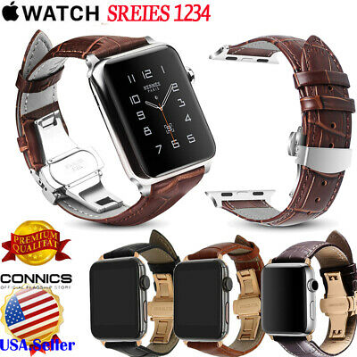 Deployment Buckle Leather Watch Strap Band Fr Apple Watch Series 1 2 3 4 38-44mm