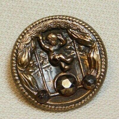 Antique Vintage Picture BUTTON Childrens Circus in Victorian Brass G1