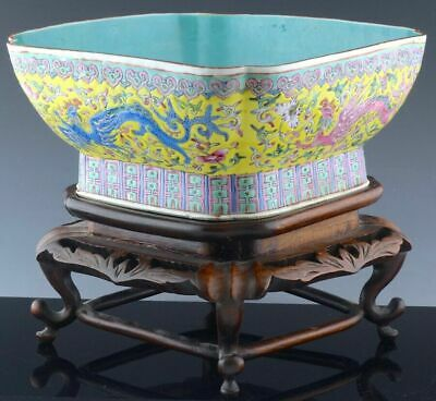 Very Fine Large Chinese 19C Famille Rose Phoenix Bowl w Stand - Daoguang M & P