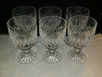 "Lot of 6 Waterford Crystal Boyne Water Goblets Cut Foot 5 1/8"" - Mint!"