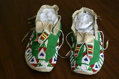 Antique Pair of Native American Sioux Indian Bead Decorated Mocassins Ca. 1910