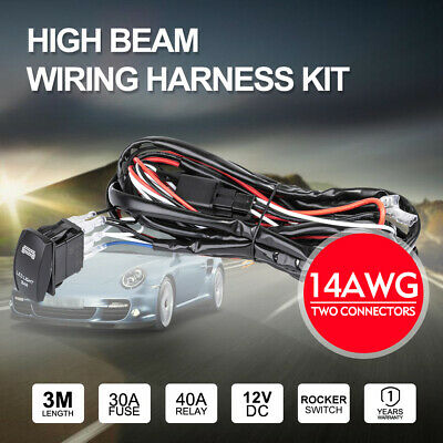 Wiring Loom Harness Kit 12V DC Relay Switch Fuse LED Work Driving Light Bar