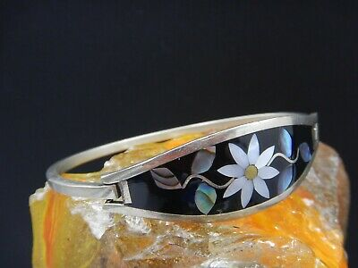 Vintage Alpaca Mexico Hinged Abalone Shell Mother Of Pearl Cuff Bracelet