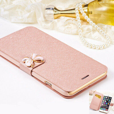 For iPhone 6 6S 7 8 Plus X Case Cover Rose Gold Butterfly Flip Wallet Card Slot