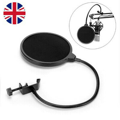 Dual Layer Record Studio Mic Microphone Windscreen Pop Filter Mask Shield Black