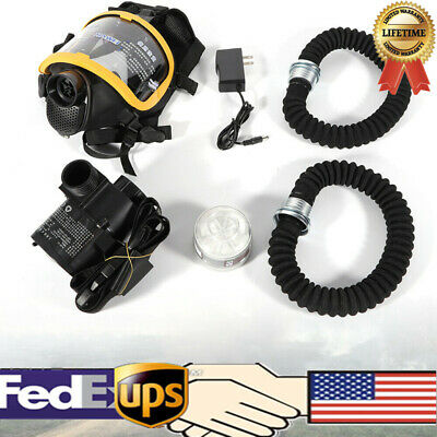 Full Face Gas Mask Electric Constant Flow Supplied Air Fed Respirator System US