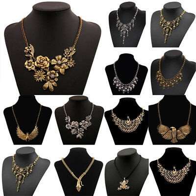 Fashion Women Antique Gold Silver Plated Flower Skull Pendant Necklace Jewelry