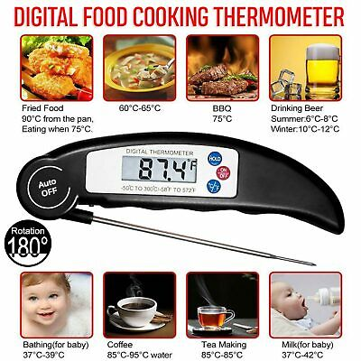 Digital LCD Food Thermometer Probe Temperature Kitchen Cooking Meat & Water BBQ