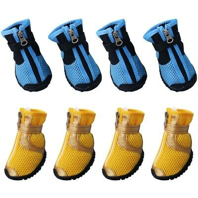 US 4pcs Dog Shoes Small Anti-slip Summer Mesh Boots Breathable Booties XS-XL