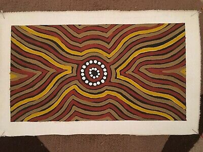 Genuine Aboriginal Dot Painting - Campsites And Tracks From Days Of Old