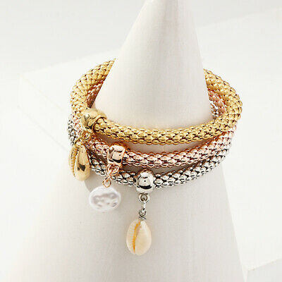 3Pcs/Set Women Elegant Cowrie Shell Faux Pearl Popcorn Chain Bangle Bracelet Pre
