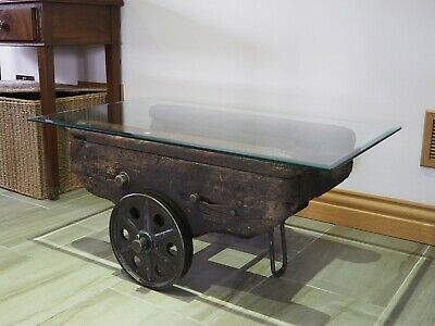 coffee table - vintage industrial factory cart with glass top