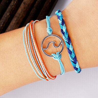 3Pcs/Set Elegant Women Wave Handmade Woven Wax Rope Bracelet Jewelry Gift Preci