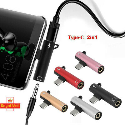 2-in-1 Type-C to 3.5mm Headphone Aux Jack Adapter Splitter For Huawei P20 Pro UK