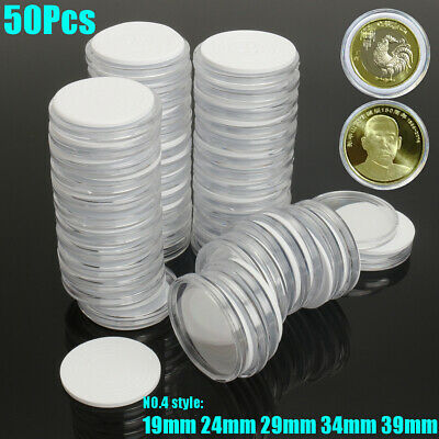 50X Plastic Capsules Coin Holders Case Storage Adjustable for 19 24 29 34 39 mm